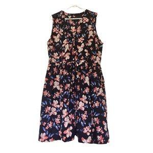 Gap Sz 18 Navy Floral Drawstring Waist Shirt Dress